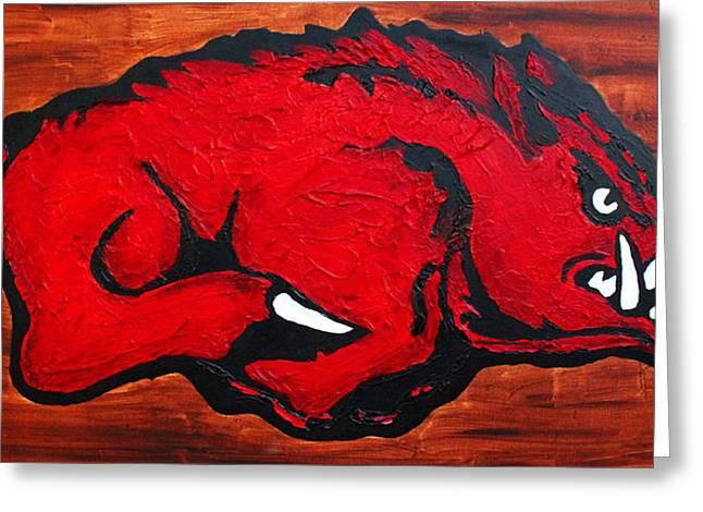 Arkansas Greeting Cards - Woo Pig Sooie Greeting Card by Laura  Grisham