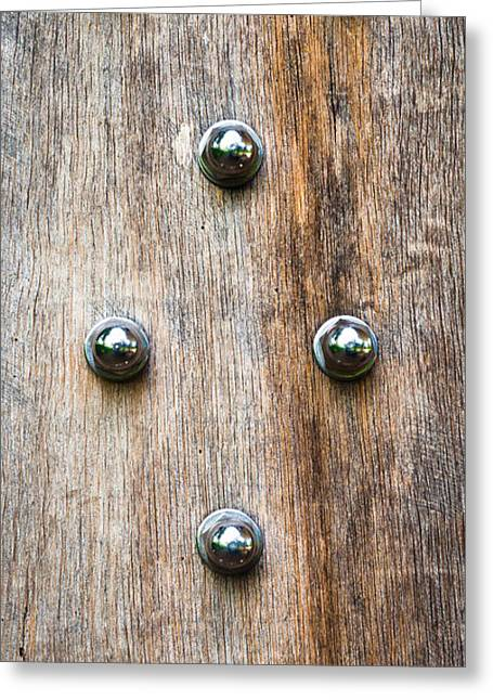 Stud Greeting Cards - Wood and bolts Greeting Card by Tom Gowanlock