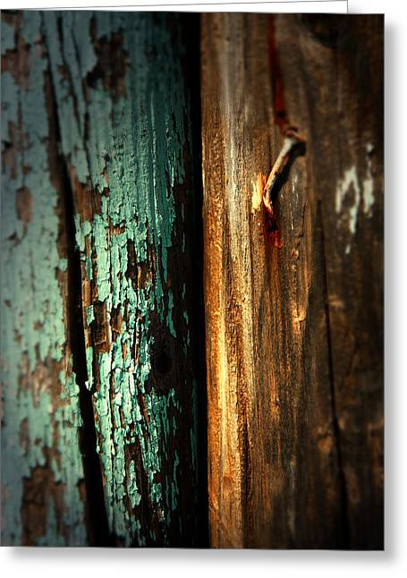 Wood Post Greeting Cards - Wood And Nail Greeting Card by Mark  Ross