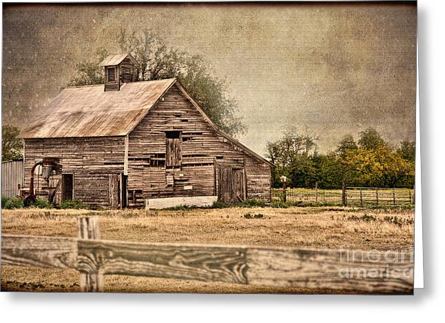 Tin Roof Greeting Cards - Wood Barn Greeting Card by Betty LaRue