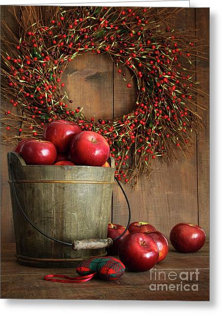 Cultivation Greeting Cards - Wood bucket of apples for the holidays Greeting Card by Sandra Cunningham