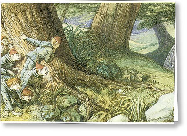 Victorian Greeting Cards - Wood Elves Hiding and Watching a Lady Greeting Card by Richard Doyle
