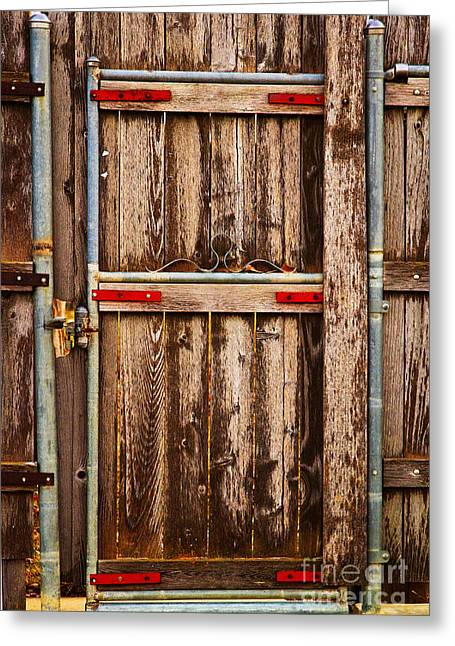 Entryway Greeting Cards - Wood Fence Door Greeting Card by James BO  Insogna