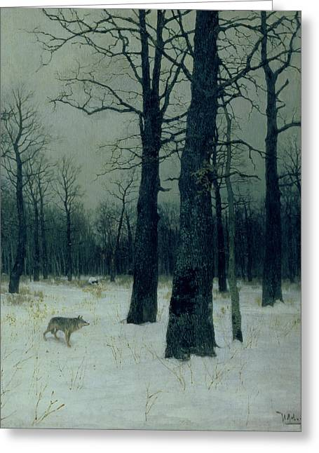 Barren Greeting Cards - Wood in Winter Greeting Card by Isaak Ilyic Levitan