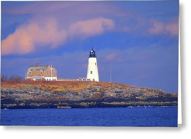 Maine Lighthouses Greeting Cards - Wood Island Lighthouse Biddeford Greeting Card by John Burk
