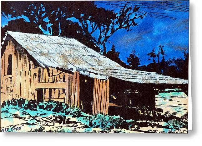 Barn Pen And Ink Pyrography Greeting Cards - Wood Shed Greeting Card by Mike Holder
