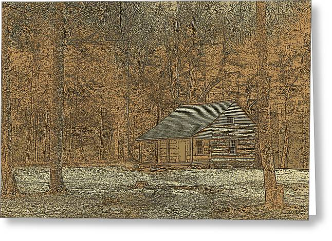 Tennessee Historic Site Greeting Cards - Woodcut Cabin Greeting Card by Jim Finch