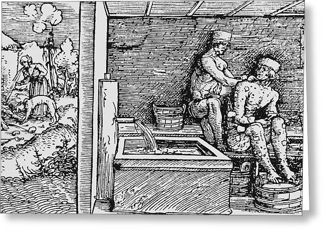 Historical Images Greeting Cards - Woodcut Of Leprosy In Medieval Times Greeting Card by .