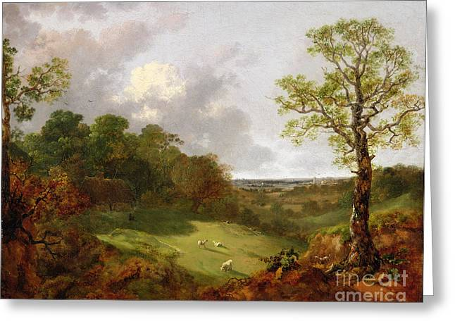 Wooded Landscape With A Cottage - Sheep And A Reclining Shepherd Greeting Card by Thomas Gainsborough