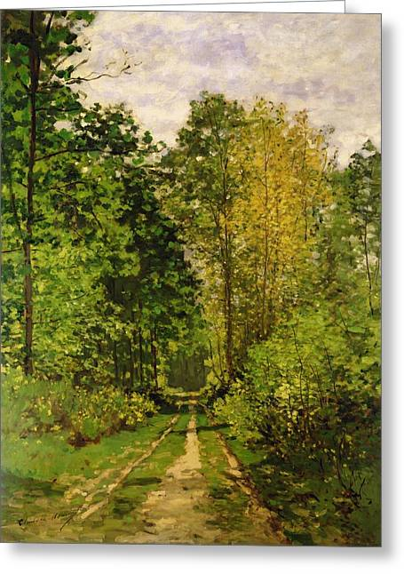 Rural Road Greeting Cards - Wooded Path Greeting Card by Claude Monet