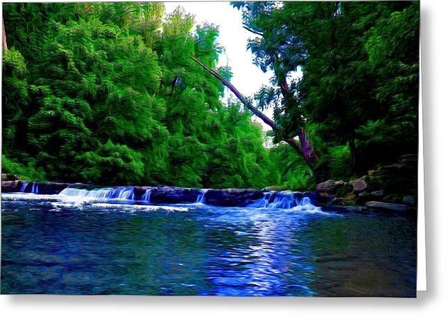 Stream Digital Art Greeting Cards - Wooded Waterfall Greeting Card by Bill Cannon