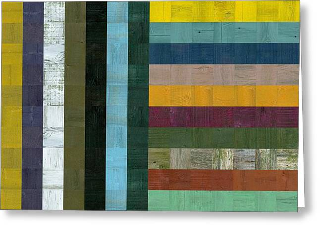 Geometric Style Greeting Cards - Wooden Abstract Vl  Greeting Card by Michelle Calkins