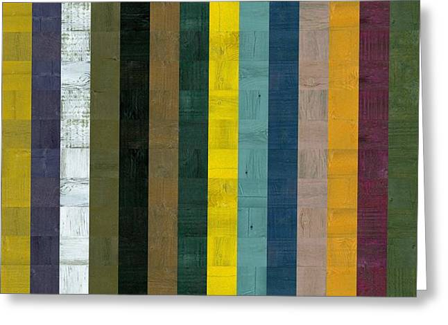 Geometric Style Greeting Cards - Wooden Abstract Vll Greeting Card by Michelle Calkins