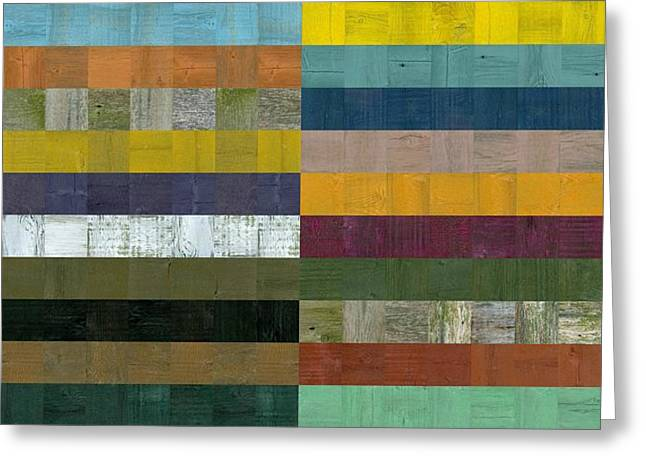 Geometric Style Greeting Cards - Wooden Abstract Vlll Greeting Card by Michelle Calkins