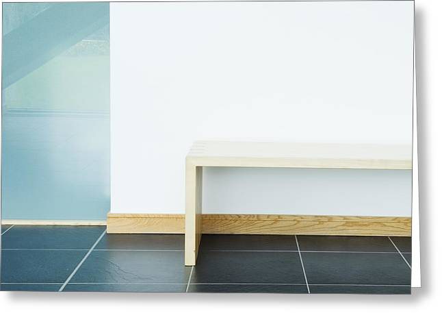 Wooden Stairs Greeting Cards - Wooden Bench In Modern Office Greeting Card by Iain Sarjeant