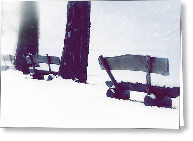 Bench Photographs Greeting Cards - Wooden Benches In Snow Greeting Card by Joana Kruse