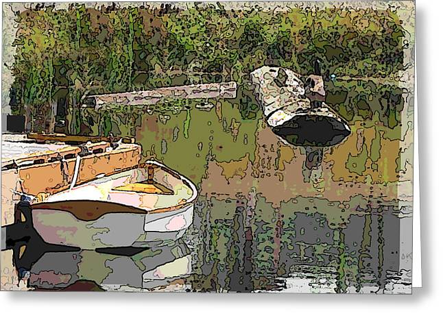 Row Boat Greeting Cards - Wooden Boat Placid Greeting Card by Tim Allen