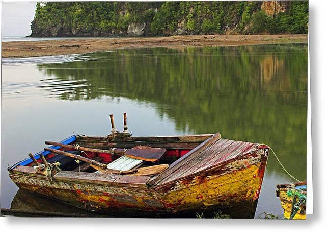 Wooden Ship Greeting Cards - Wooden Boat- St Lucia Greeting Card by Chester Williams