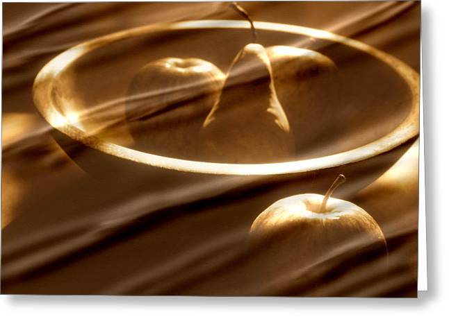 Wooden Bowls Photographs Greeting Cards - Wooden bowl with fruit Greeting Card by Toni Hopper