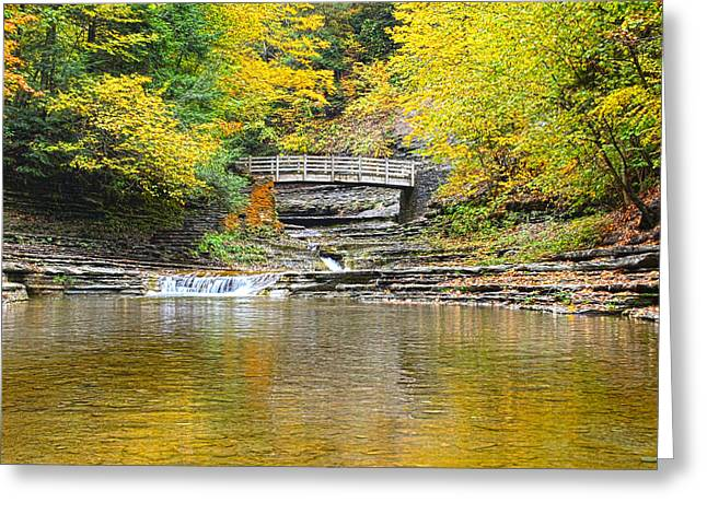 Wooden Bridge And Yellow Leaves Greeting Card by Joshua House
