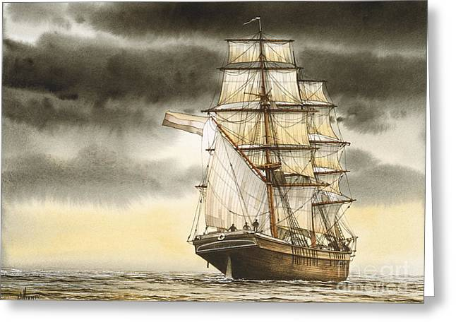 Maritime Print Greeting Cards - Wooden Brig Under Sail Greeting Card by James Williamson