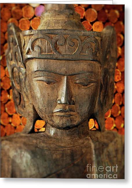 Wooden Sculpture Greeting Cards - Wooden Buddha Greeting Card by John Greim
