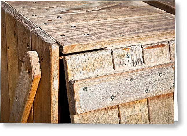 Compartments Greeting Cards - Wooden crate Greeting Card by Tom Gowanlock