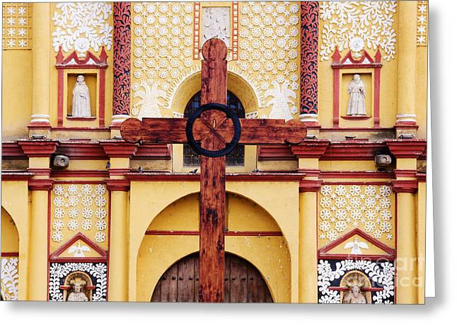 Bals Greeting Cards - Wooden Cross in Front of Church Greeting Card by Jeremy Woodhouse