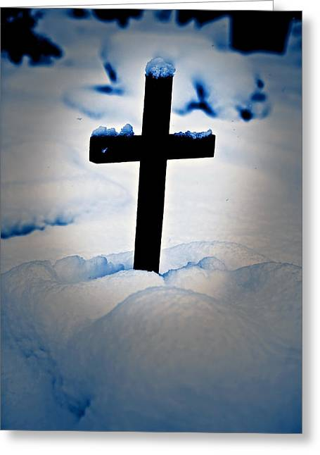 Cross On The Grave Greeting Cards - Wooden Cross Greeting Card by Joana Kruse