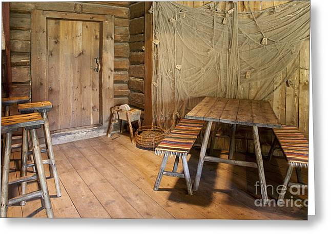 Best Sellers -  - Log Cabin Interiors Greeting Cards - Wooden Dining Room Greeting Card by Jaak Nilson