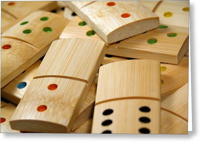 Bone Pile Greeting Cards - Wooden dominoes Greeting Card by Vaidas Bucys