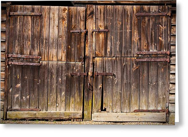 Shed Photographs Greeting Cards - Wooden Door Greeting Card by Tom Gowanlock