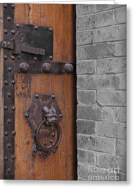 Antique Beijing Greeting Cards - Wooden Door With Ornate Door Knocker Greeting Card by Shannon Fagan