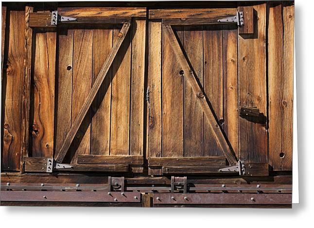 Door Hinges Greeting Cards - Wooden Doors Greeting Card by Kelley King