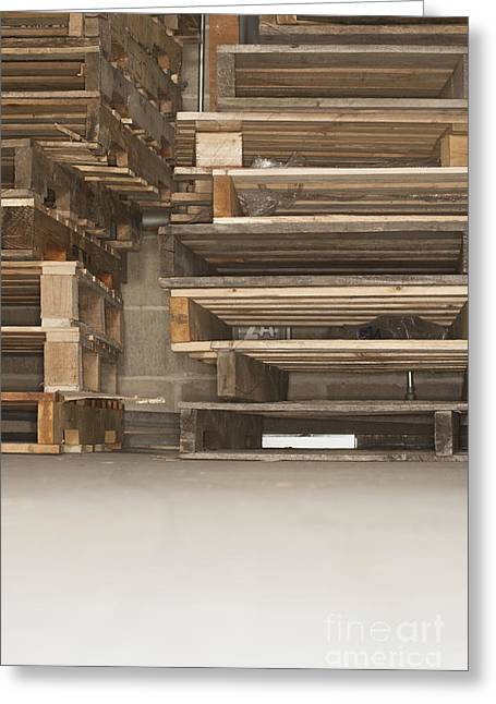 Wooden Ship Greeting Cards - Wooden Pallets Stacked Up Greeting Card by Shannon Fagan