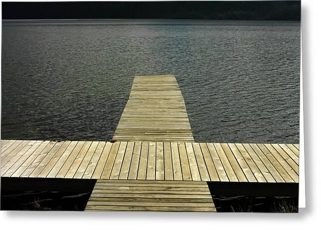 Absence Greeting Cards - Wooden pontoon Greeting Card by Bernard Jaubert