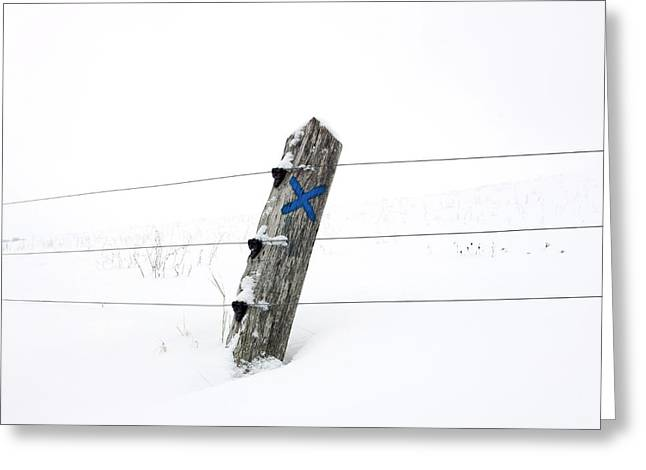 Winter Scenes Rural Scenes Greeting Cards - Wooden post in winter Greeting Card by Bernard Jaubert