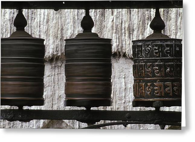 Altitude Greeting Cards - Wooden Prayer Wheels Greeting Card by Sean White