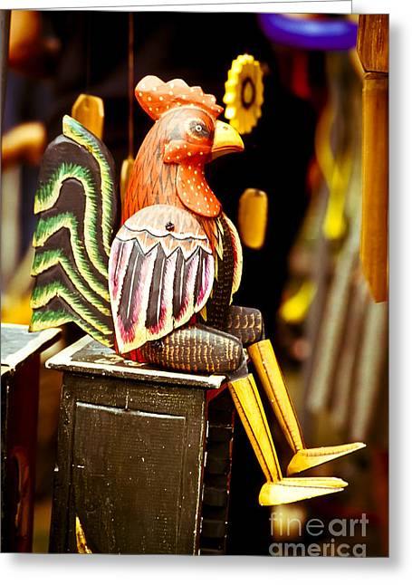 Rooster Photographs Greeting Cards - Wooden Rooster Figure Greeting Card by Gordon Wood