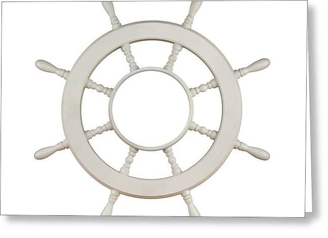 Navy Greeting Cards - Wooden Sail Boat Wheel Greeting Card by Blink Images