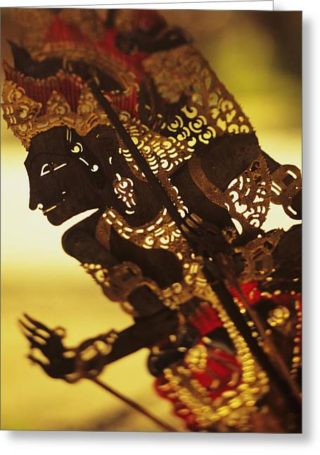 Culture Influenced Art Greeting Cards - Wooden Shadow Puppets Greeting Card by Dana Edmunds - Printscapes