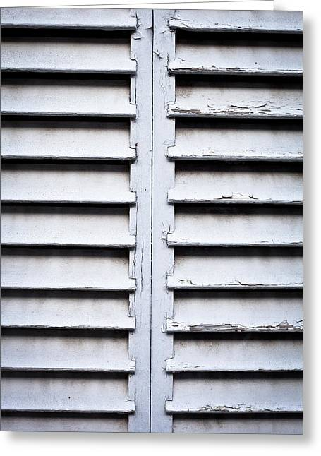 Shade Cover Greeting Cards - Wooden shutters Greeting Card by Tom Gowanlock