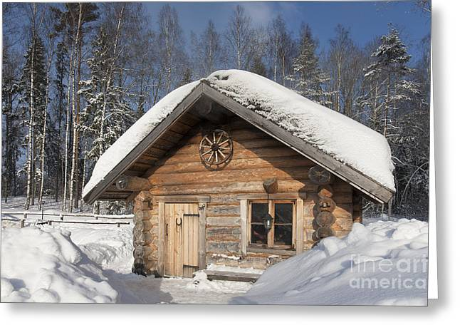 Snow Drifts Greeting Cards - Wooden Smoke Sauana Greeting Card by Jaak Nilson