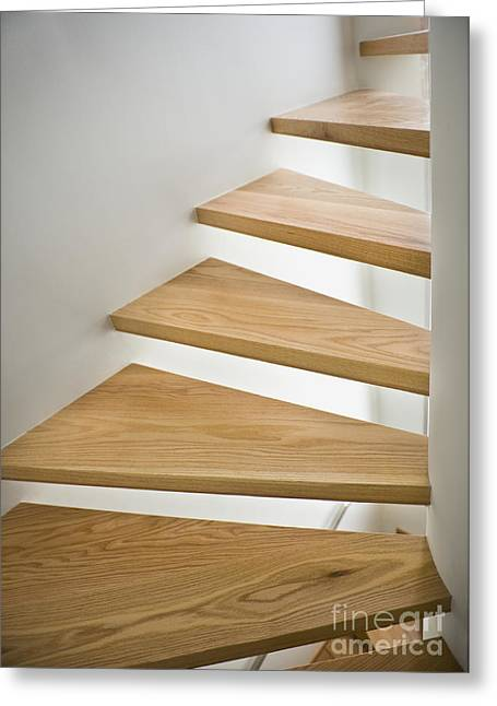 Wooden Stairs Greeting Cards - Wooden Spiral Staircase Greeting Card by Noam Armonn