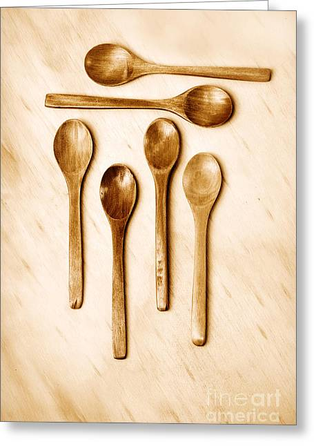 Warm Tones Photographs Greeting Cards - Wooden Spoons Greeting Card by HD Connelly
