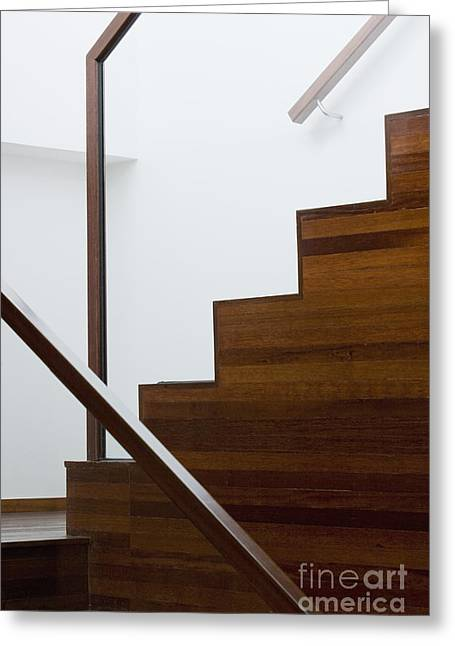 Wooden Stairs Greeting Cards - Wooden Staircase Greeting Card by Shannon Fagan
