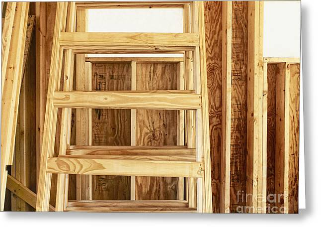 Step Ladder Greeting Cards - Wooden Step Ladder Greeting Card by Skip Nall