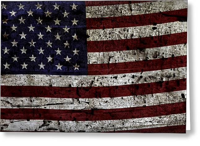 Flag Of Usa Greeting Cards - Wooden Textured USA Flag2 Greeting Card by John Stephens