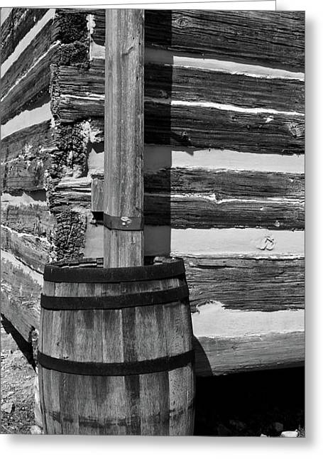 Lawrence County Greeting Cards - Wooden Water Barrel Greeting Card by Douglas Barnett