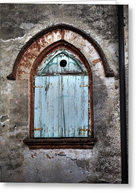 Painted Wood Photographs Greeting Cards - Wooden Window Shutters Greeting Card by Joana Kruse